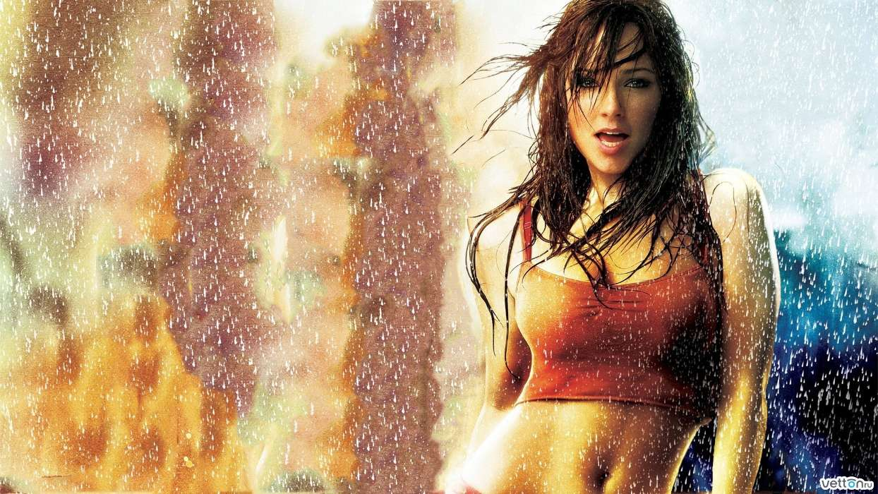 Download mobile wallpaper Cinema, People, Girls, Actors, Rain for free.