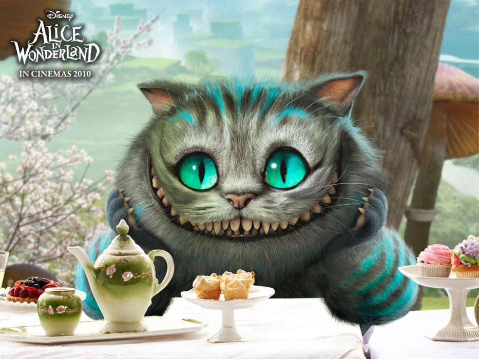 Download mobile wallpaper Cartoon, Cinema, Cats, Alice in Wonderland for free.