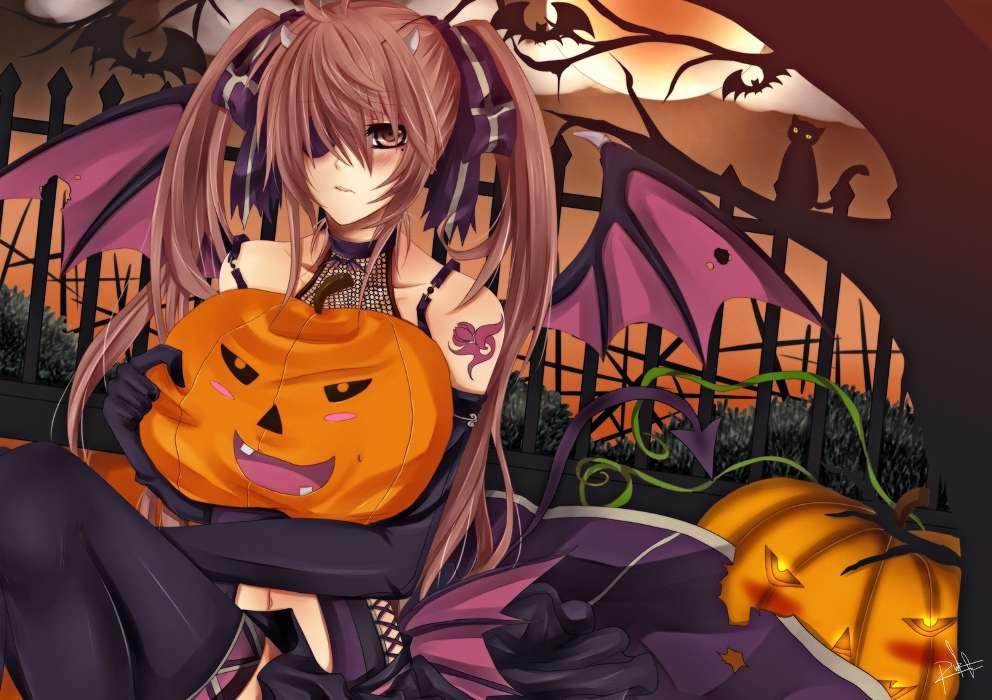 download mobile wallpaper holidays anime girls halloween demons