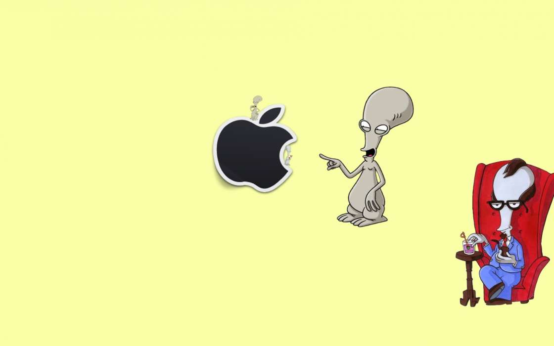 Download mobile wallpaper Funny, Brands, Background, Logos, Apple for free.