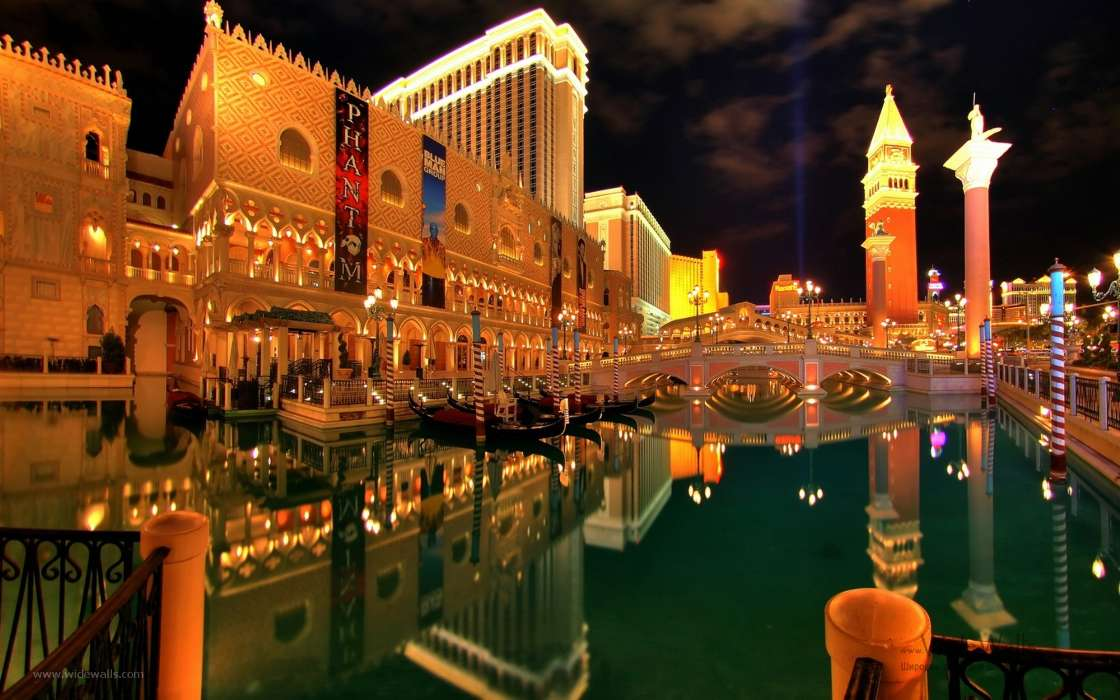 Download mobile wallpaper Landscape, Cities, Night, Architecture, Las Vegas for free.