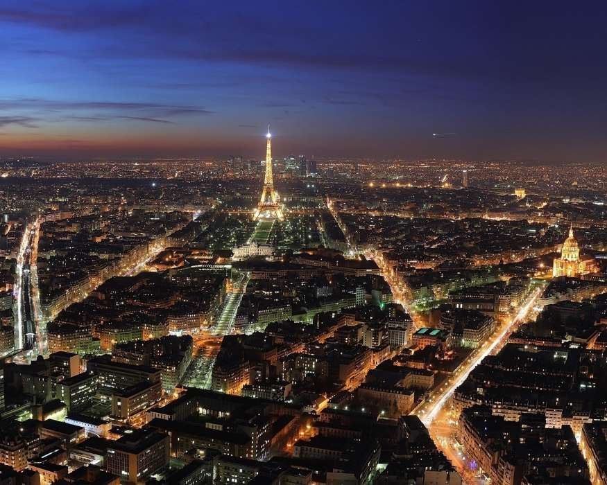 Download mobile wallpaper Landscape, Cities, Night, Architecture, Paris, Eiffel Tower for free.