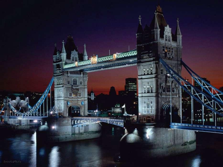 Download Mobile Wallpaper Landscape Cities Rivers Bridges Night Architecture London