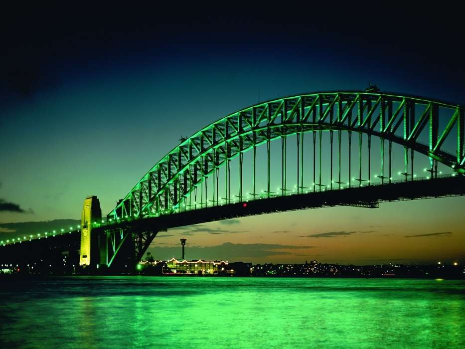 Download mobile wallpaper Landscape, Cities, Rivers, Bridges, Night, Architecture for free.