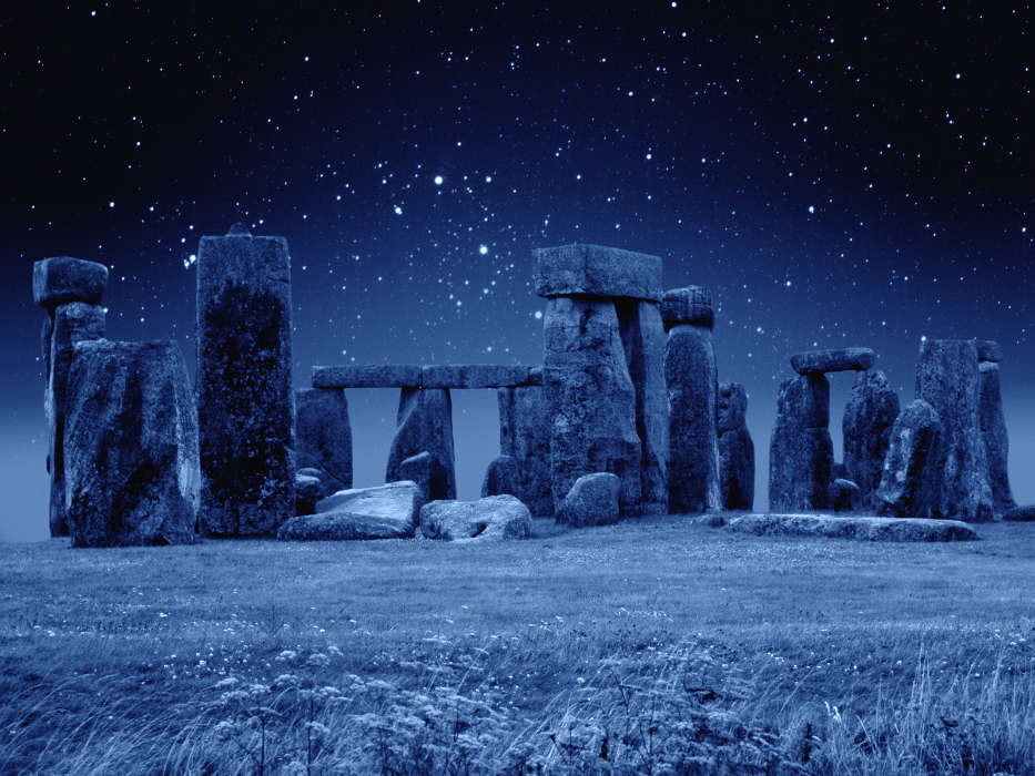 Download mobile wallpaper Landscape, Stars, Night, Architecture, Stonehenge for free.