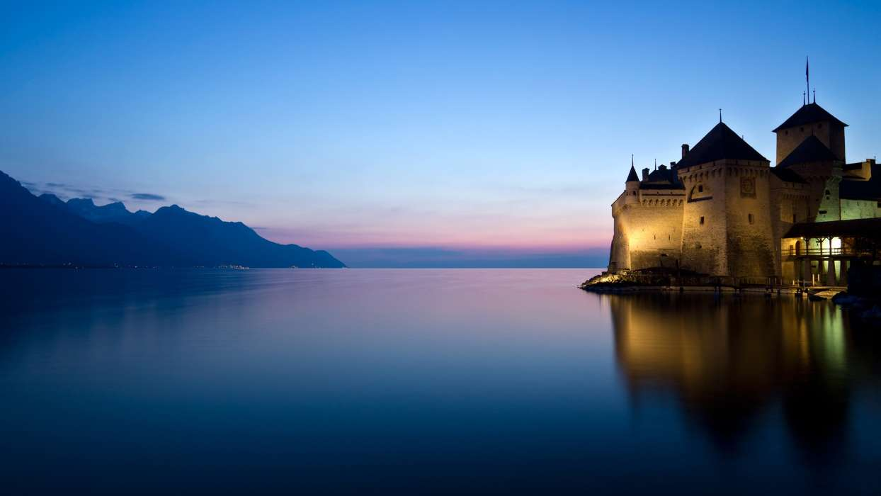 Download mobile wallpaper Landscape, Architecture, Castles, Lakes for free.