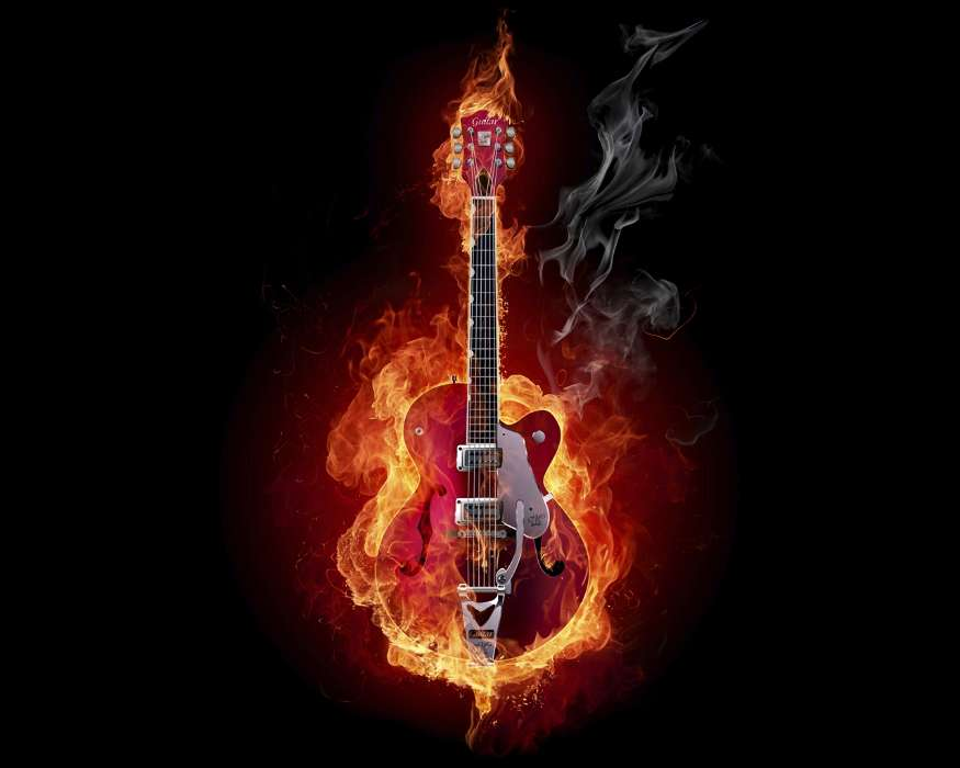 Download mobile wallpaper Music, Art, Fire, Tools, Guitars, Objects for free.