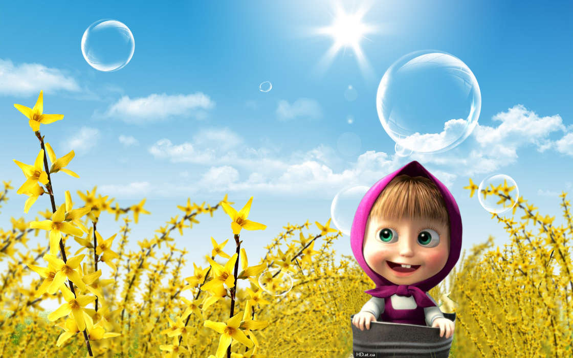 Download mobile wallpaper Cartoon, Children, Sun, Masha and the Bear for free.