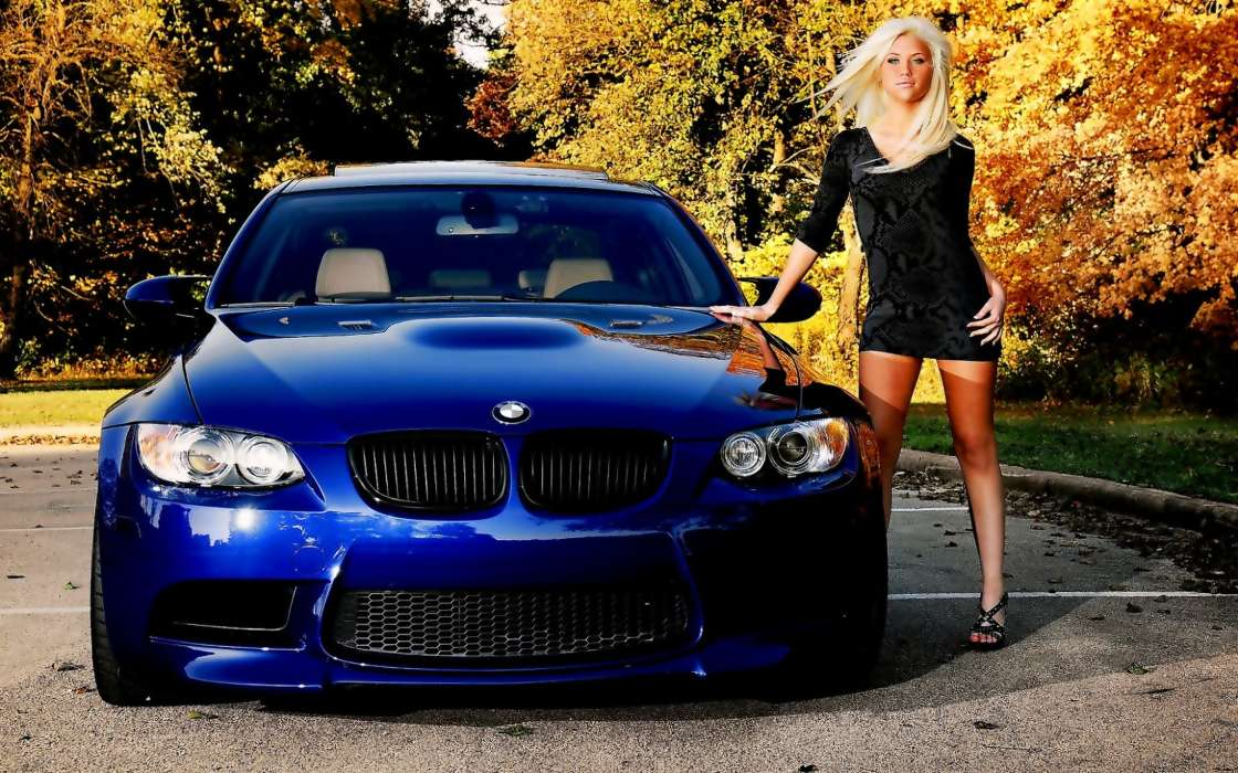 Download mobile wallpaper Transport, Auto, People, Girls, BMW for free.