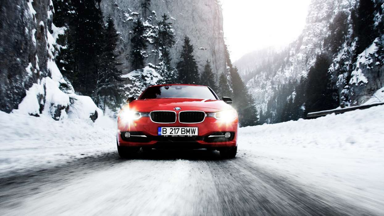 Download mobile wallpaper Transport, Auto, Winter, Roads, Mountains, BMW, Snow for free.