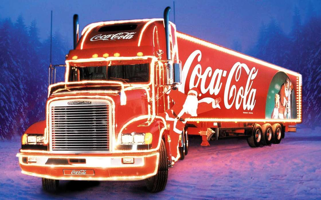Download mobile wallpaper Transport, Holidays, Auto, Brands, Christmas, Xmas, Coca-cola, Trucks for free.