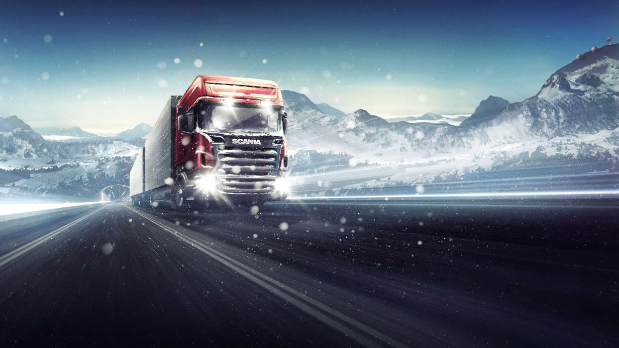 Download mobile wallpaper Transport, Auto, Winter, Roads, Mountains, Trucks for free