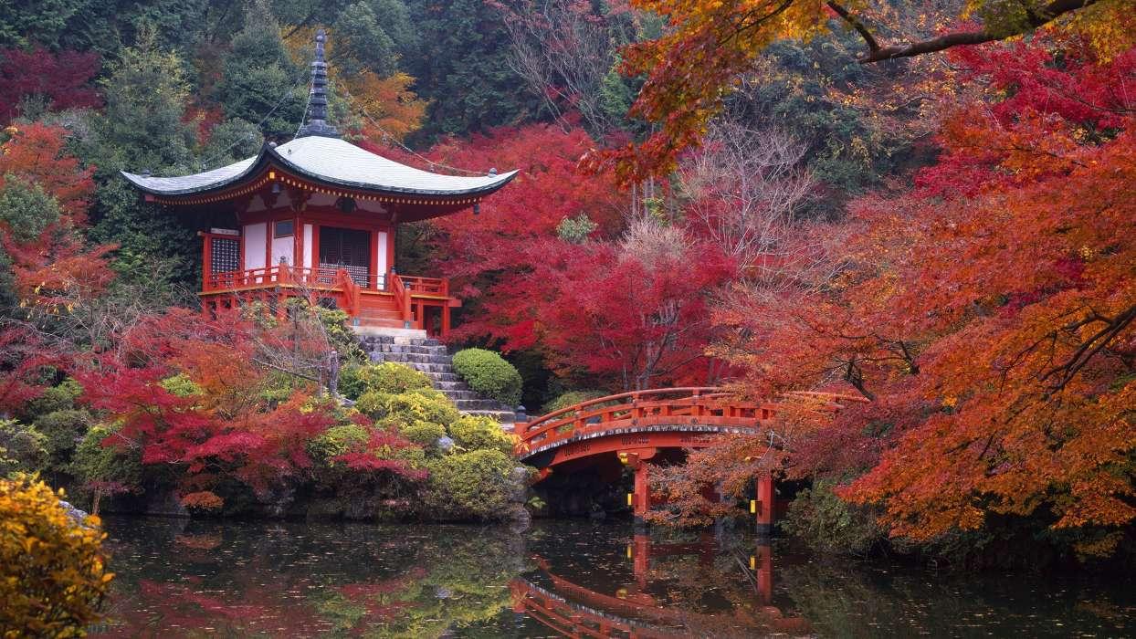 イメージを携帯電話にダウンロード 風景 川 橋 秋 アジア 無料
