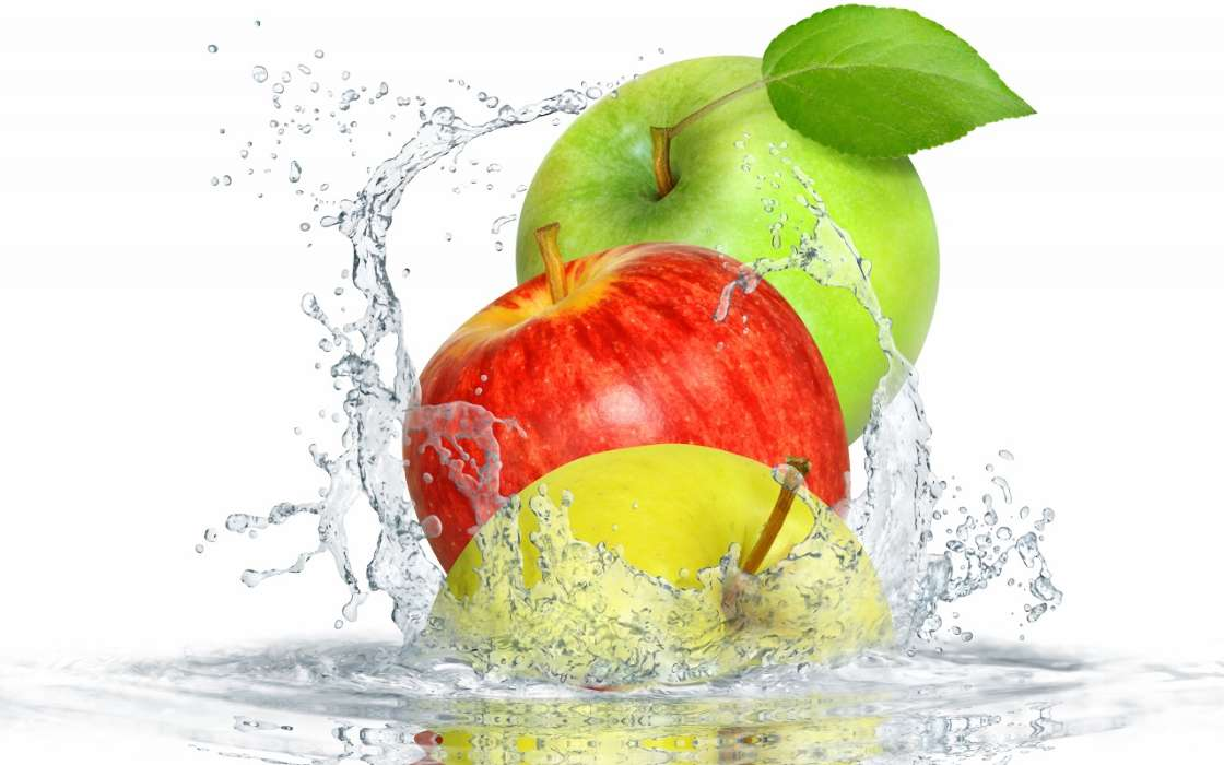 Download mobile wallpaper Fruits, Water, Food, Apples for free.