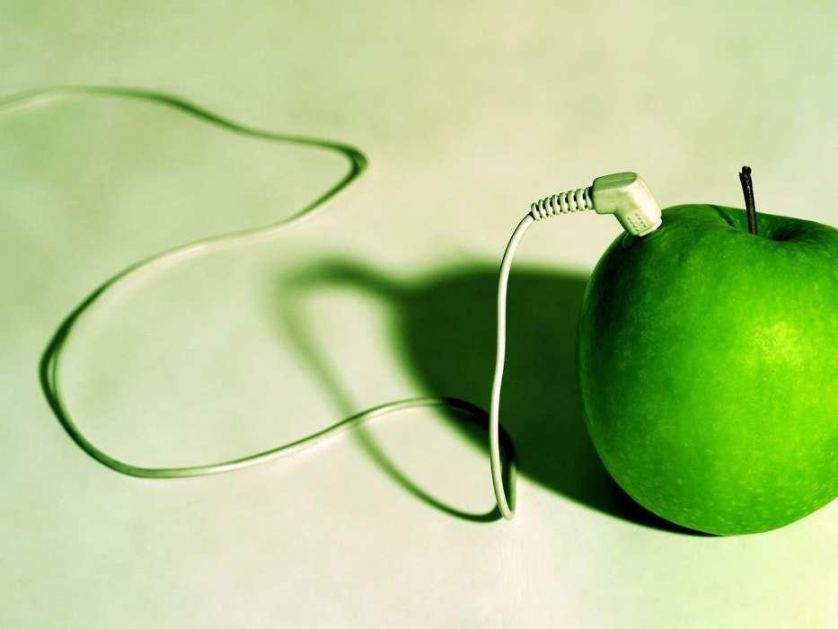 Картинка с яблоком и наушниками