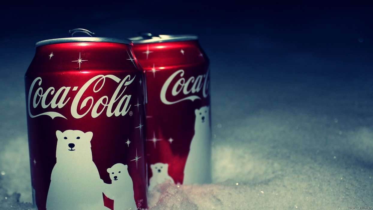 Download mobile wallpaper Brands, Food, Snow, Coca-cola, Drinks for free.
