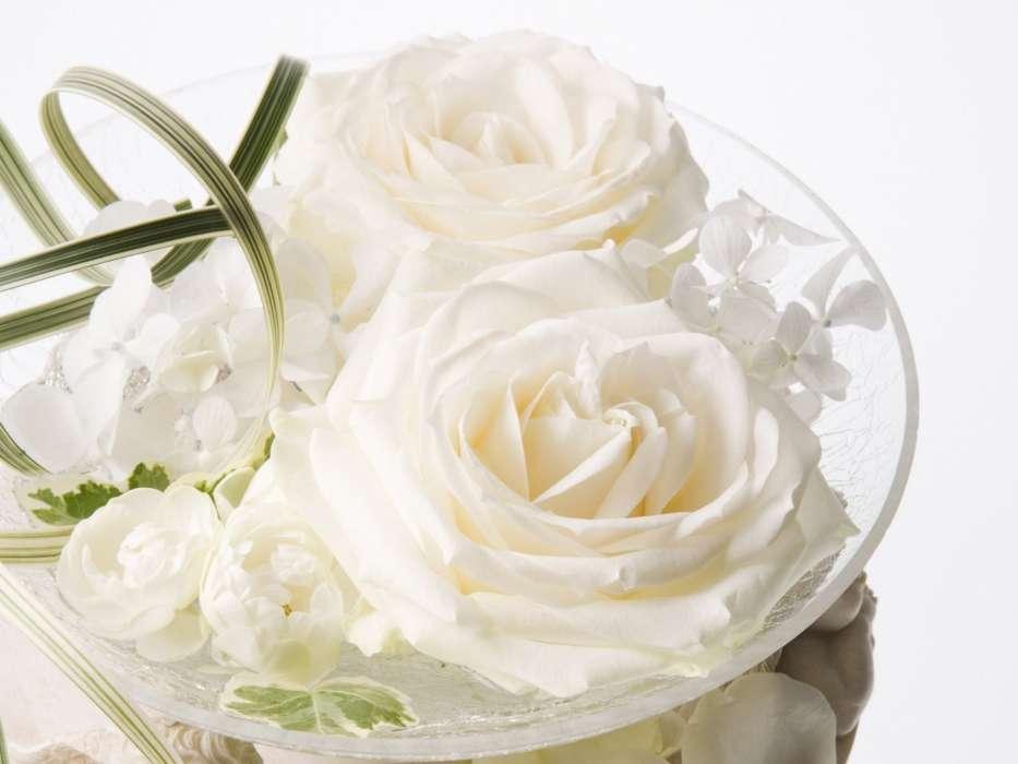 Открытка с цветами свадебная