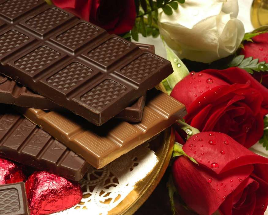 Download mobile wallpaper Holidays, Flowers, Food, Roses, Dessert, Chocolate, Valentine's day for free.