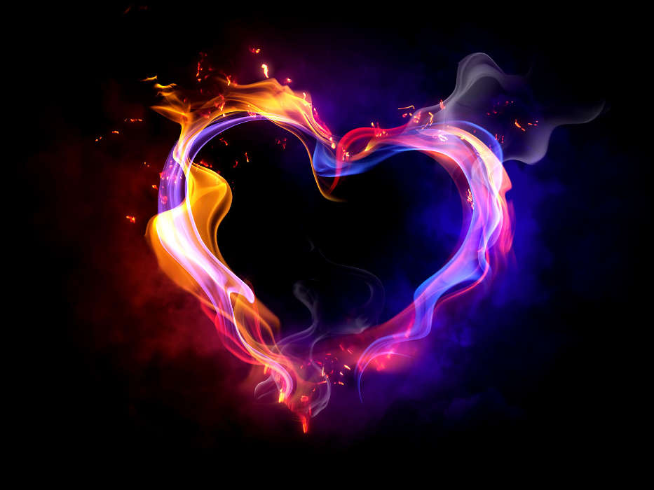 Download mobile wallpaper Holidays, Background, Fire, Hearts, Love, Valentine's day for free.