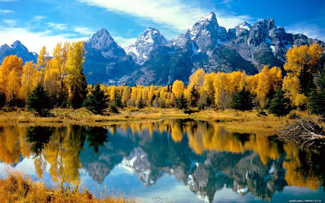 Download mobile wallpaper Landscape, Water, Trees, Mountains, Autumn for free.
