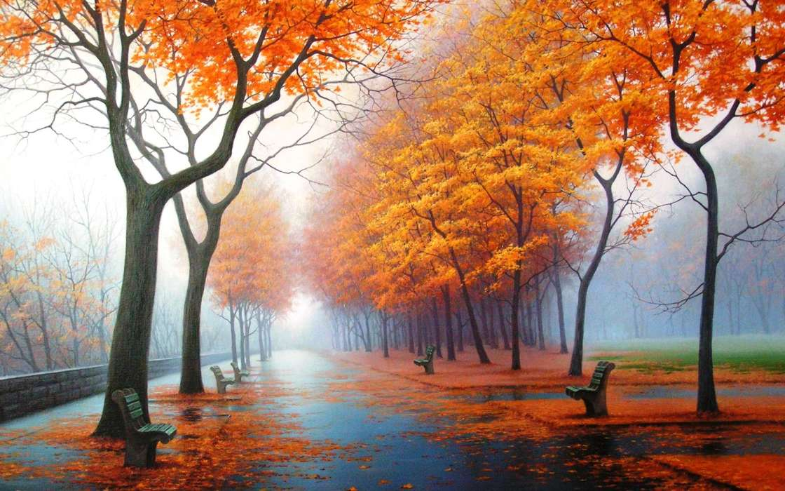 Download mobile wallpaper Landscape, Trees, Autumn, Streets for free.