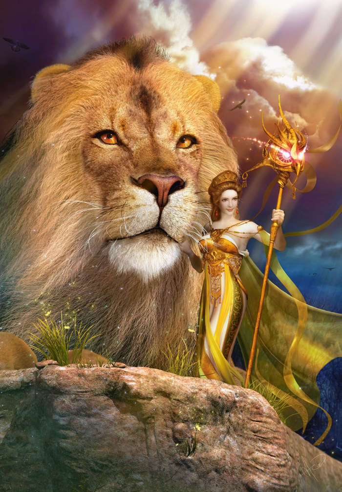 Download mobile wallpaper People, Girls, Fantasy, Lions for free.