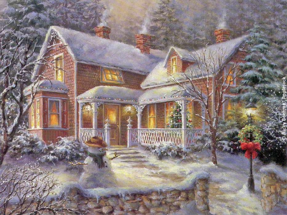 Открытка на новый год дома