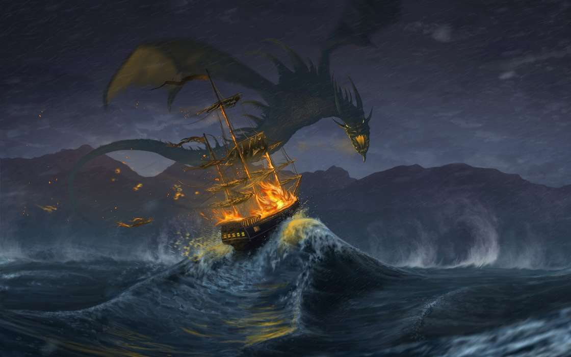 Download mobile wallpaper Water, Fantasy, Ships, Dragons, Fire for free.