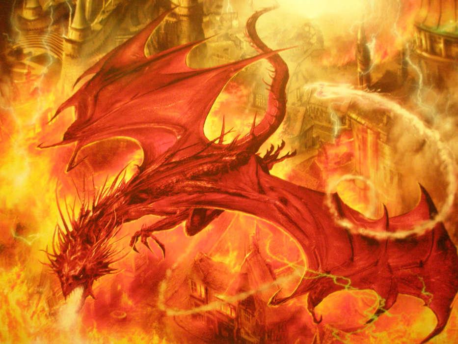 Картинки драконы с огнем