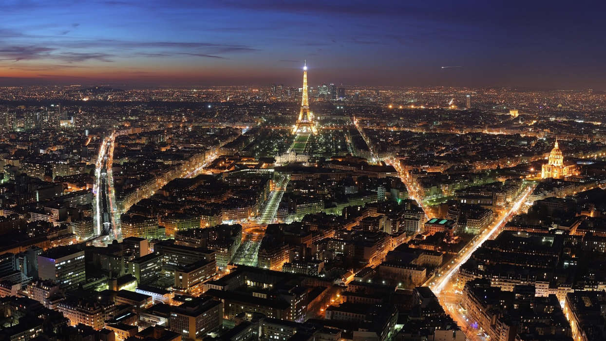 Download mobile wallpaper Landscape, Cities, Night, Paris, Eiffel Tower for free.