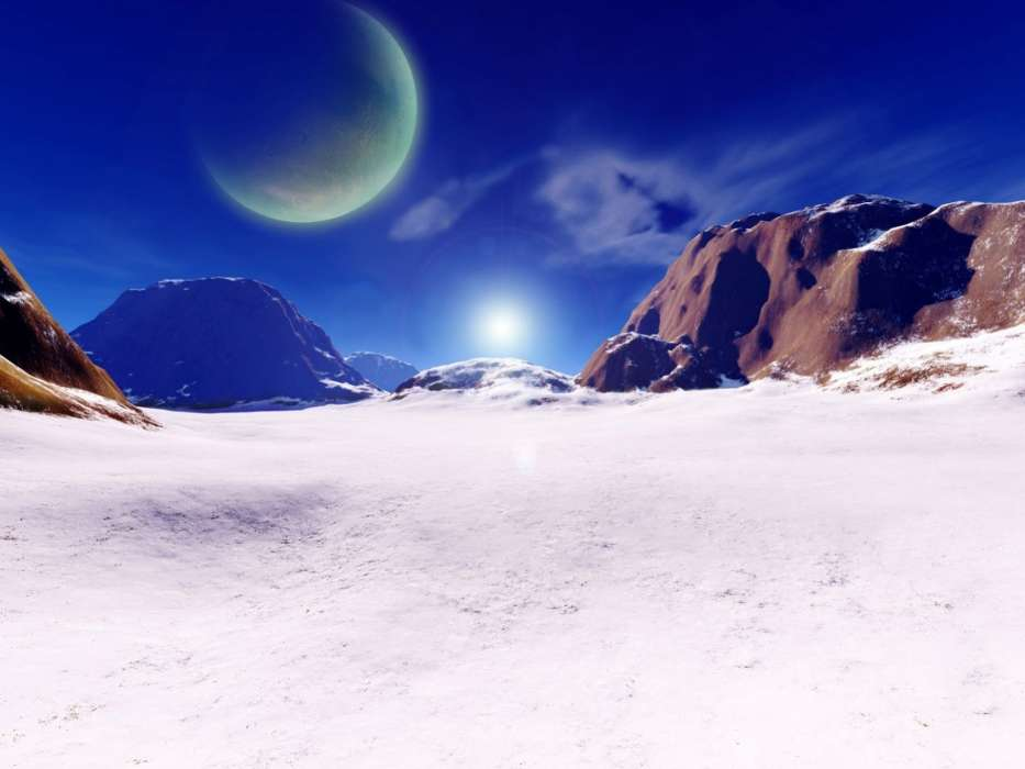 Download mobile wallpaper Winter, Fantasy, Sky, Planets, Mountains, Sun for free.