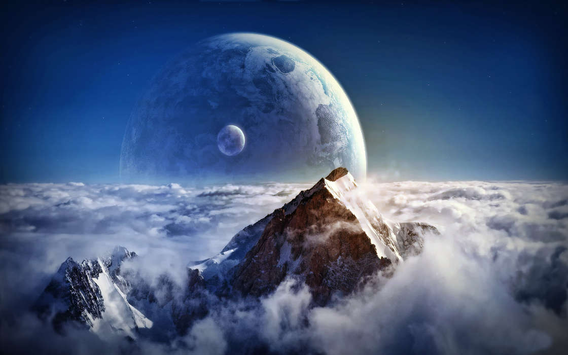 Download mobile wallpaper Landscape, Fantasy, Planets, Mountains for free.