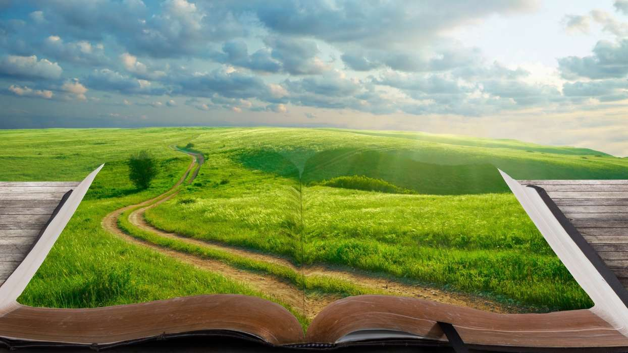 Download mobile wallpaper Fields, Background, Sky, Clouds, Books for free.