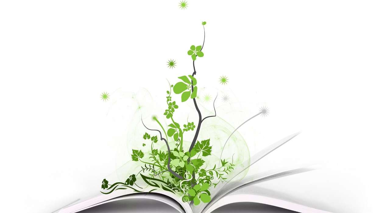 Download mobile wallpaper Plants, Background, Books for free.