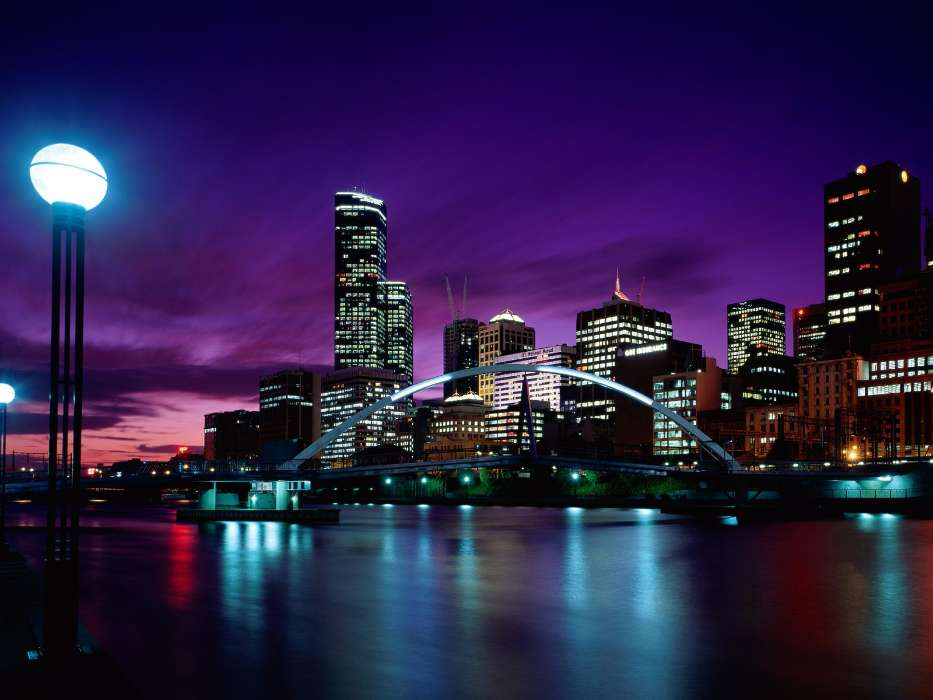 Download mobile wallpaper Landscape, Cities, Bridges, Night, Architecture for free.