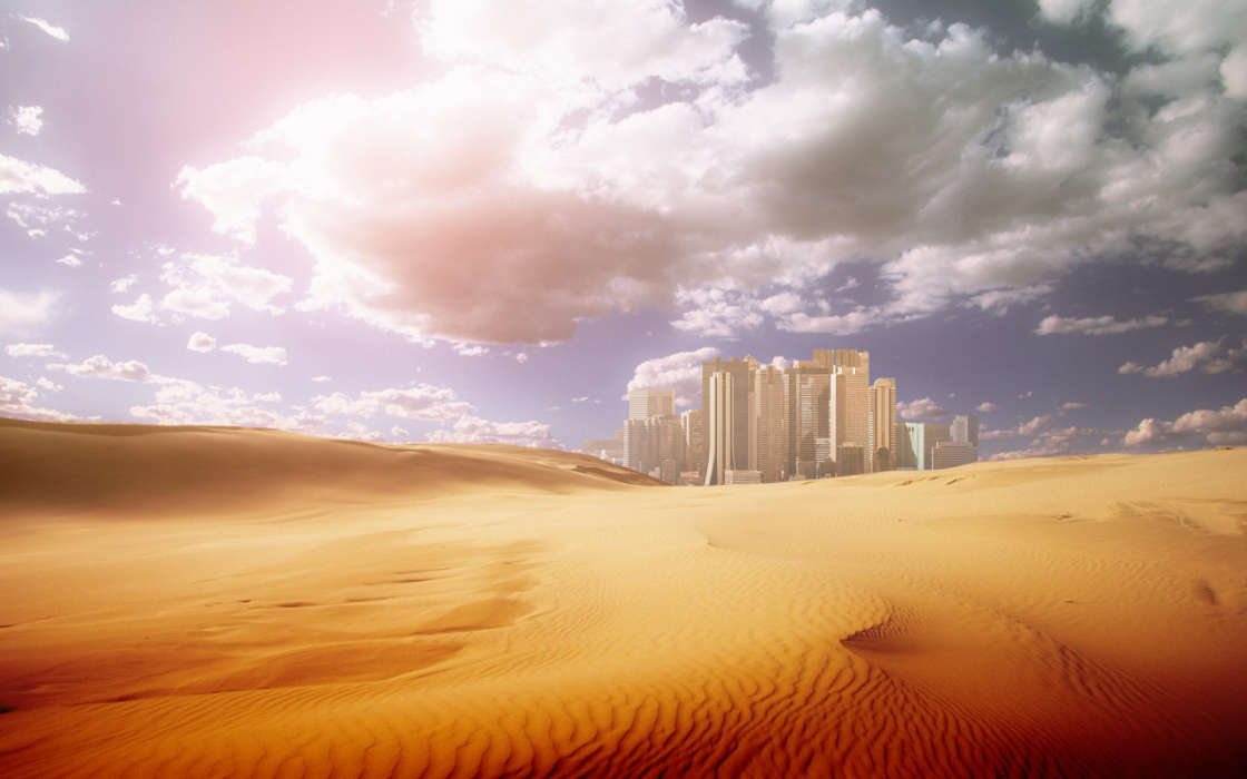 Download mobile wallpaper Landscape, Cities, Desert for free.