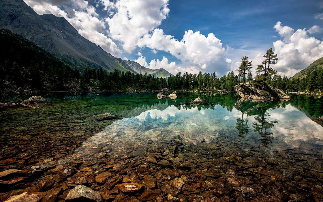 Download mobile wallpaper Landscape, Nature, Mountains, Lakes for free.