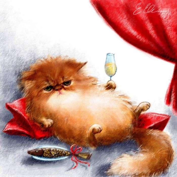 Открытки, прикольные открытки котами