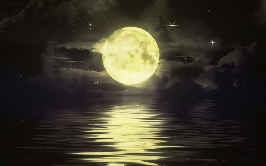 Download mobile wallpaper Landscape, Sea, Night, Moon, Pictures for free.