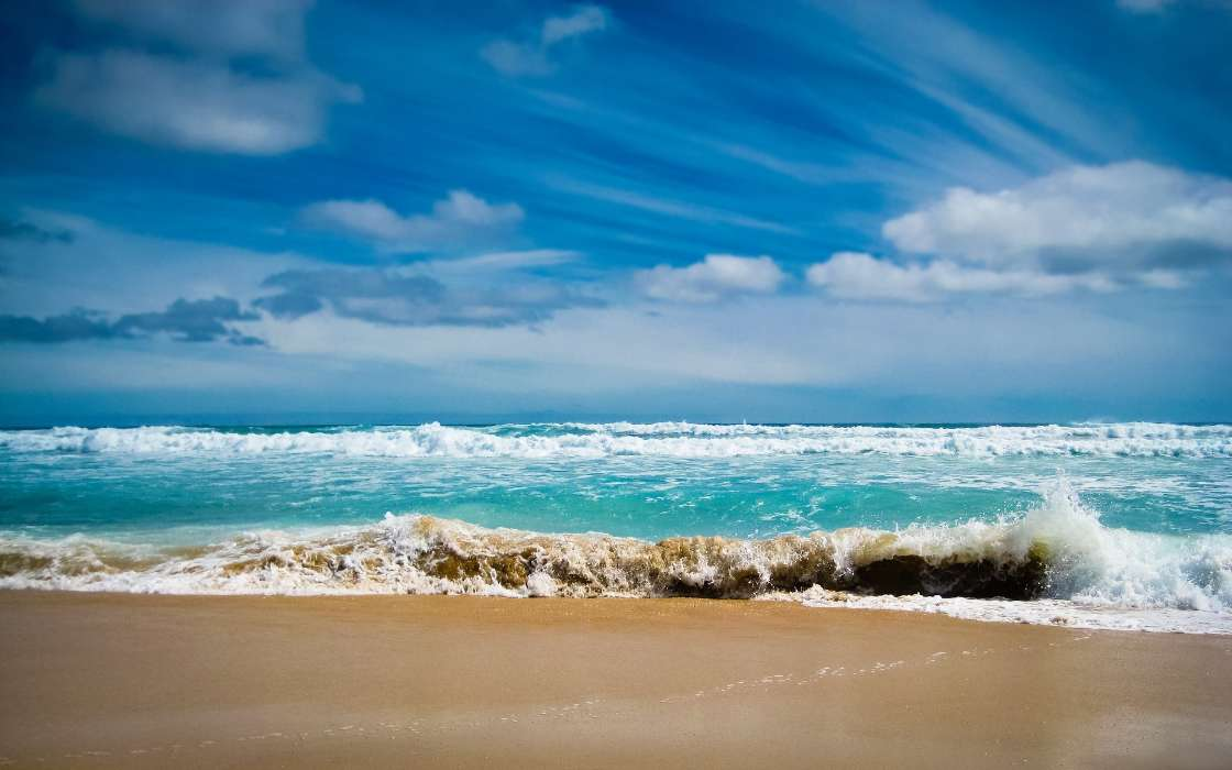 Download mobile wallpaper Landscape, Sea, Clouds, Waves, Beach for free.