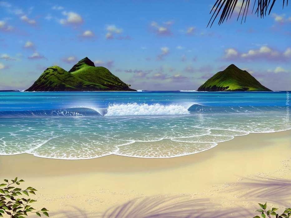 анимационная картинка море пляж представлены