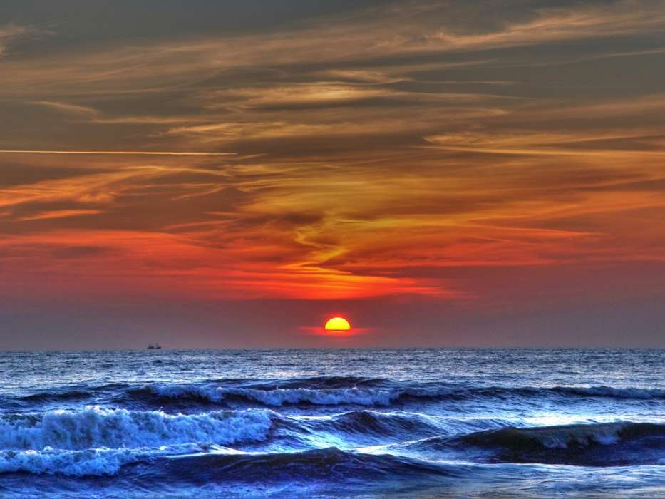 Download mobile wallpaper Landscape, Sunset, Sea for free.