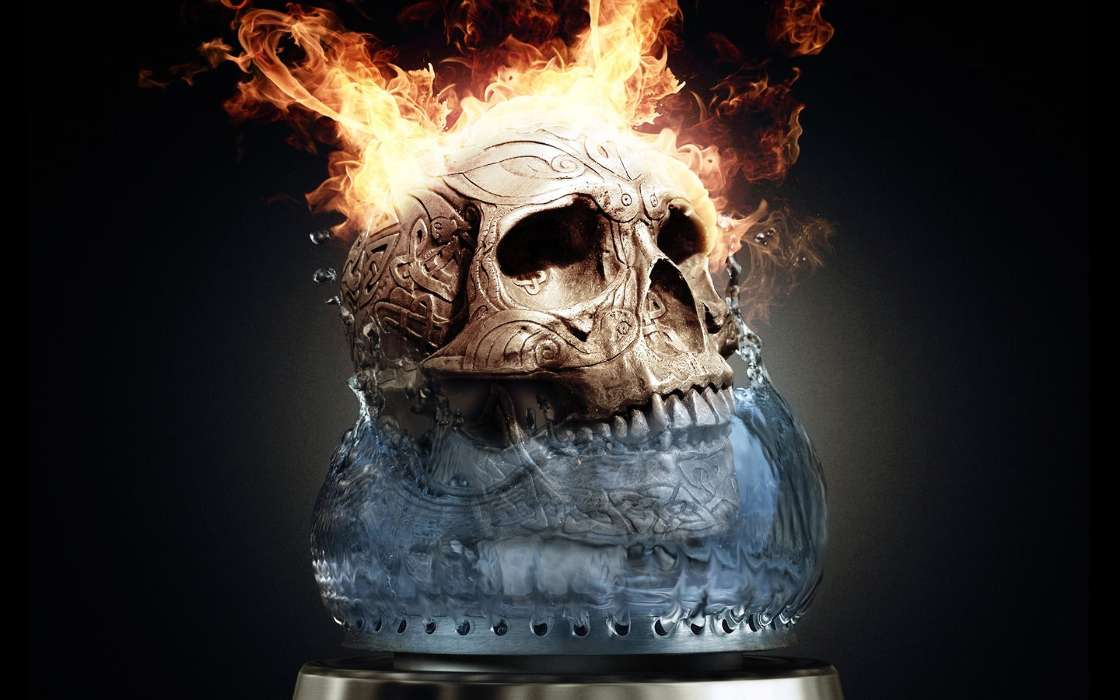 Download mobile wallpaper Art, Fire, Death, Objects, Skeletons for free.