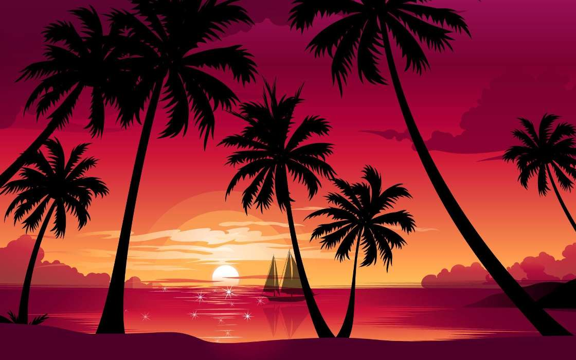Download mobile wallpaper Landscape, Sunset, Palms, Pictures for free.