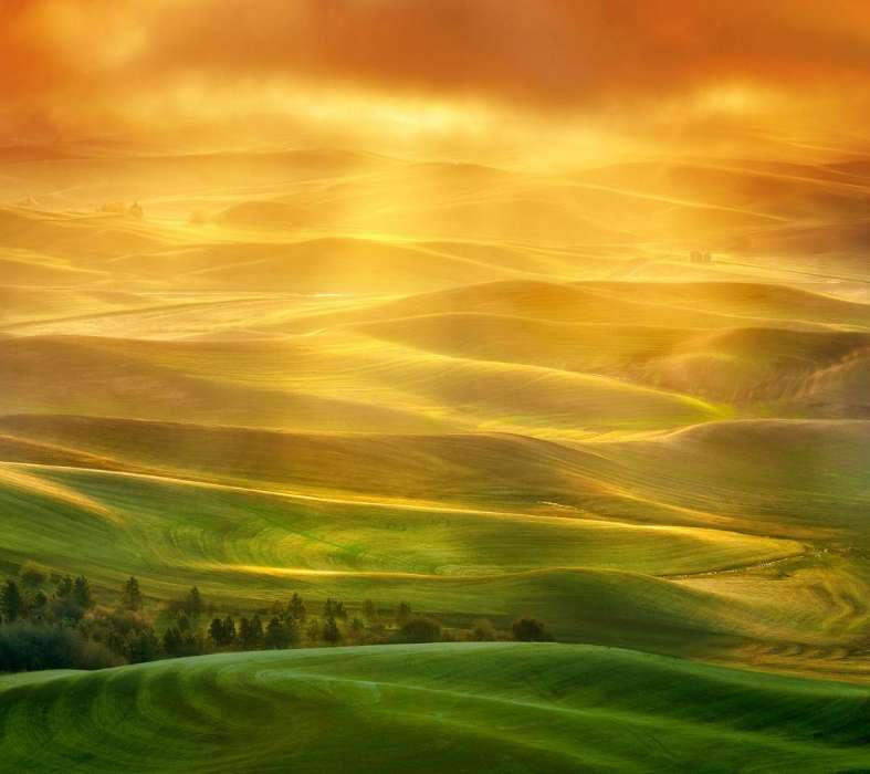 Download mobile wallpaper Landscape, Nature, Fields for free.