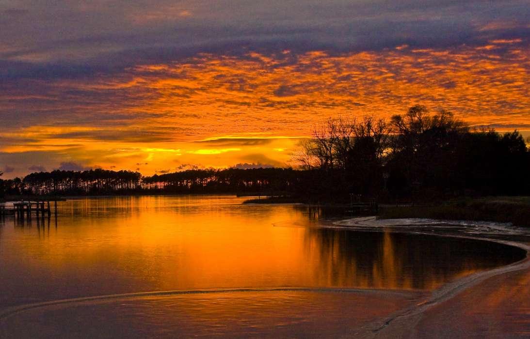 открытки закат на реке