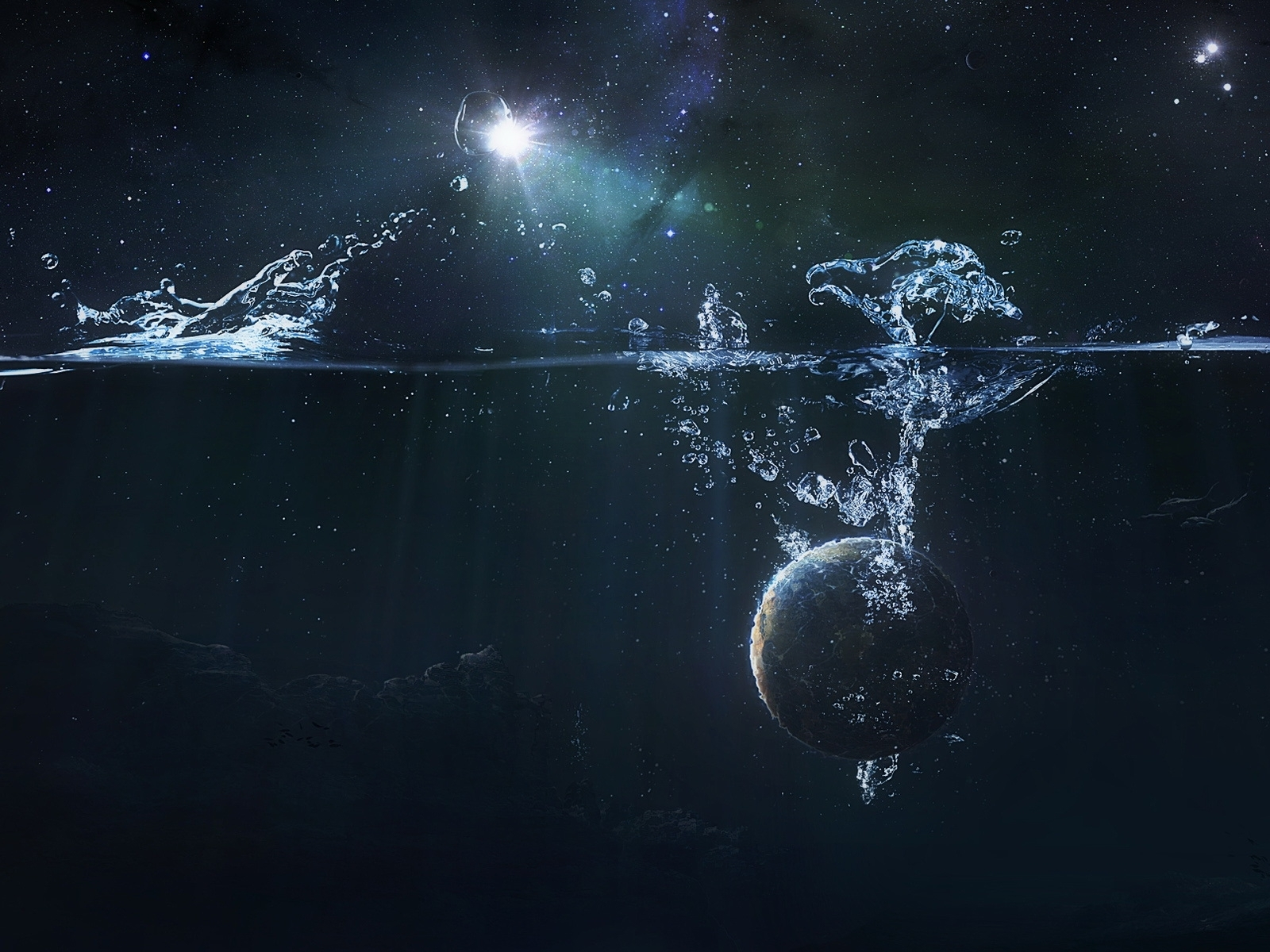 Download mobile wallpaper Abstract, Water, Background, Planets for free.
