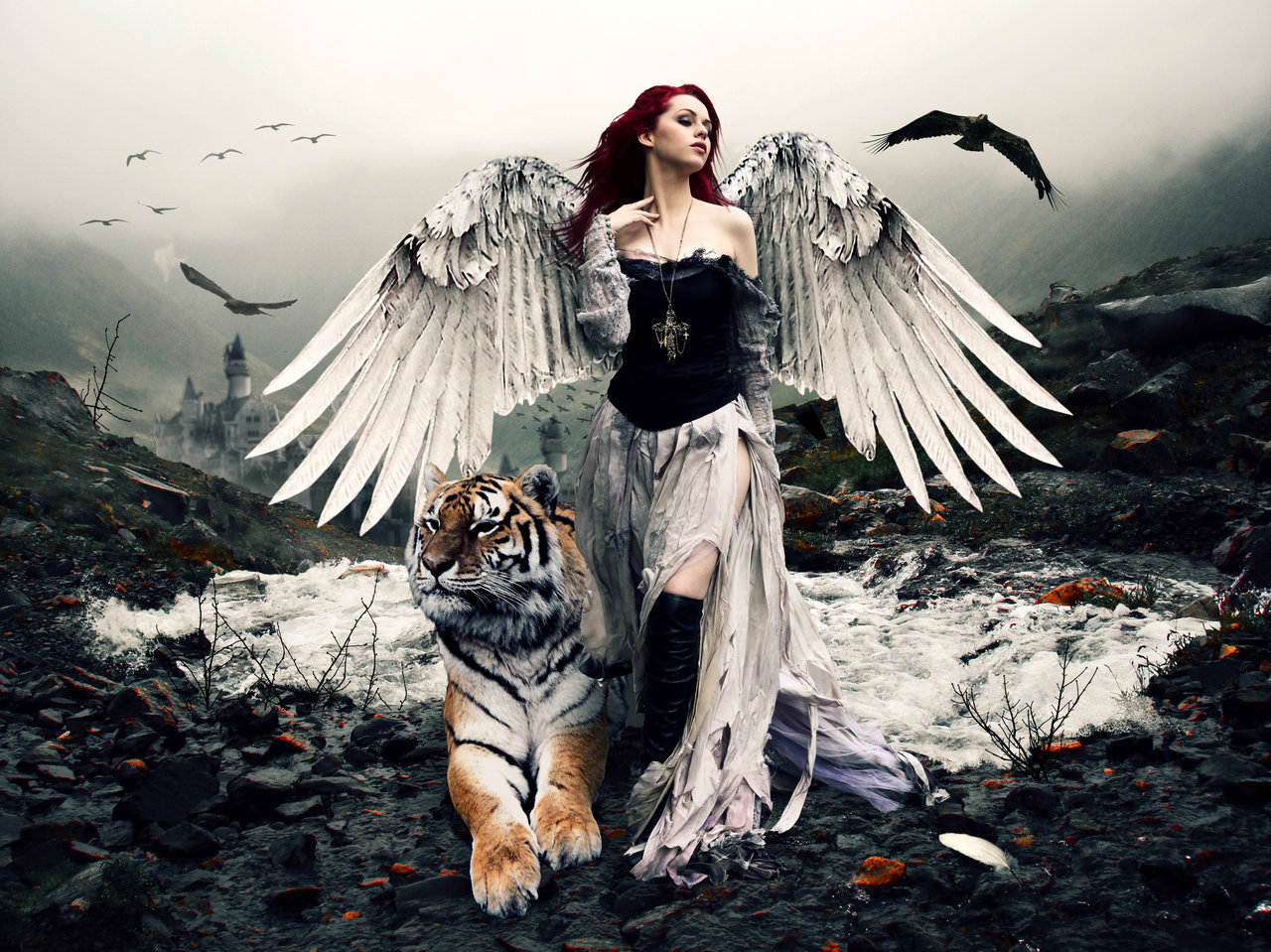 Download mobile wallpaper Animals, People, Girls, Fantasy, Angels, Tigers for free.