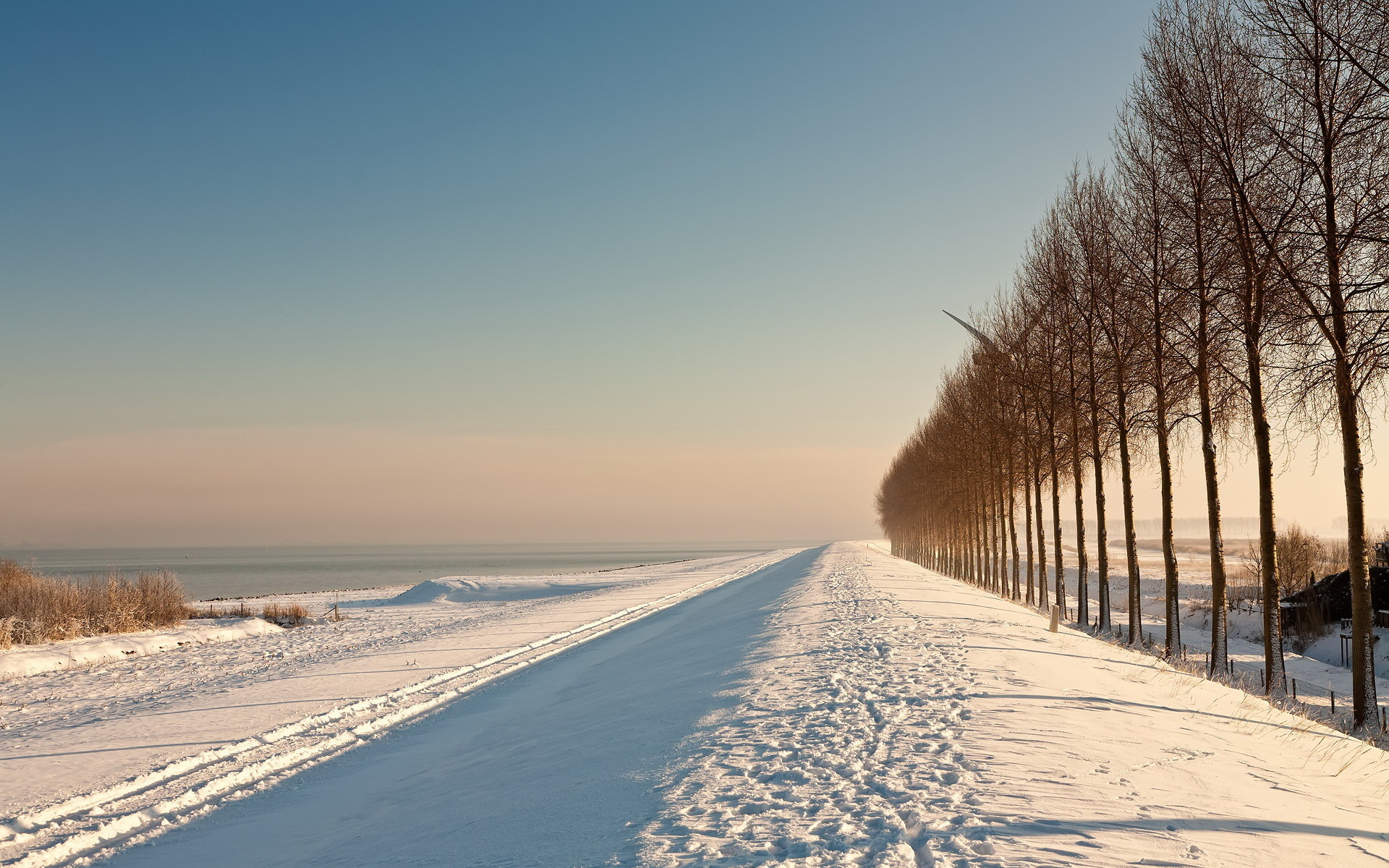 Download mobile wallpaper Landscape, Winter, Trees, Roads, Snow for free.