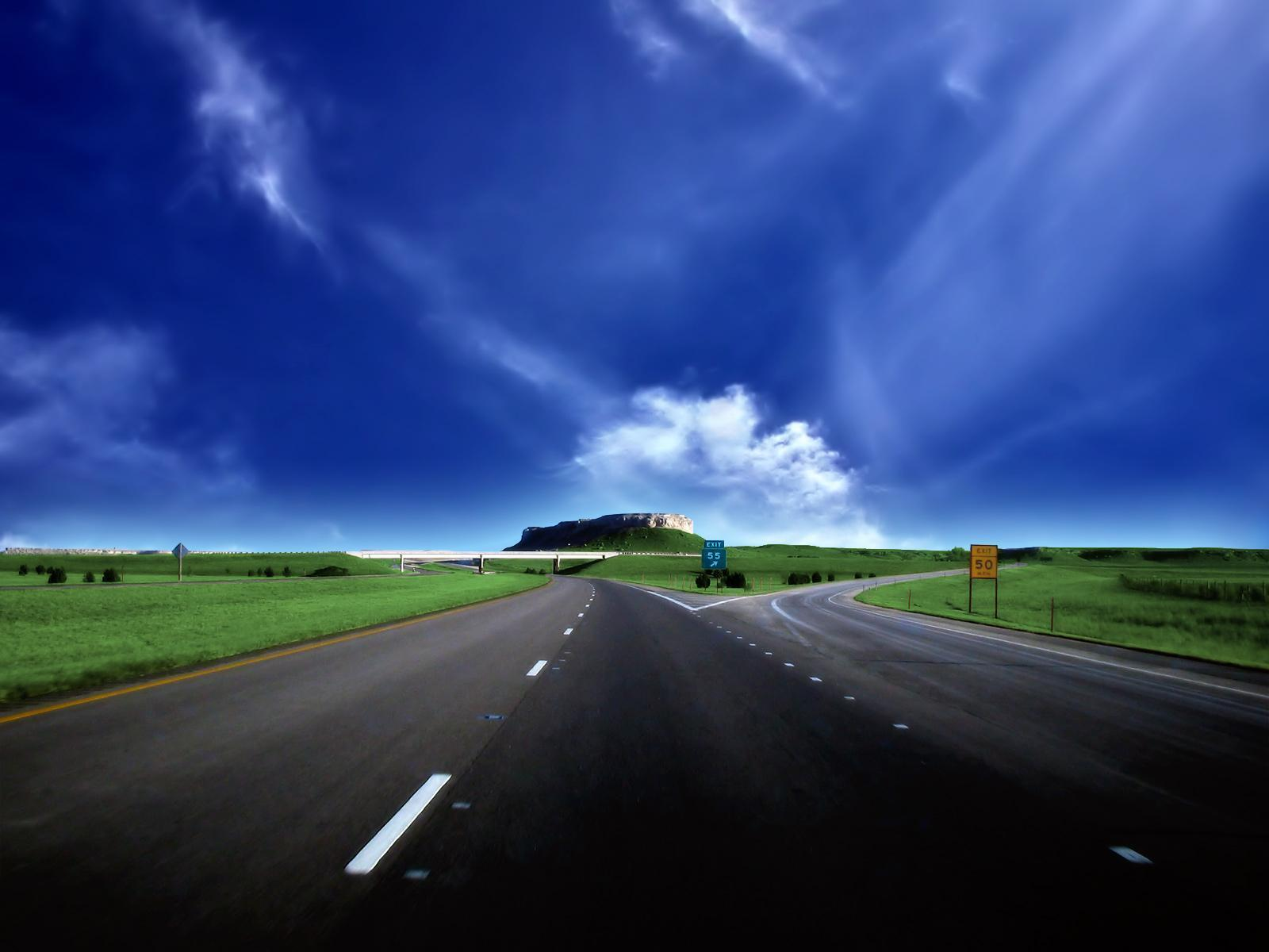 Download mobile wallpaper Landscape, Sky, Roads, Clouds for free.